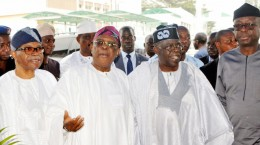 Pic. 26. From left are chieftains of the All Progresives Congress (APC): Chief Pius Akinyelure; Chief Olusegun Osoba; Asiwaju Bola Tinubu, and Otunba Niyi Adebayo, during the APC Stakeholders Forum in Ibadan on Thursday (12/1/17). 00285/12/01/2017/ Adeogodiran Timothy/HB/BJO/NAN